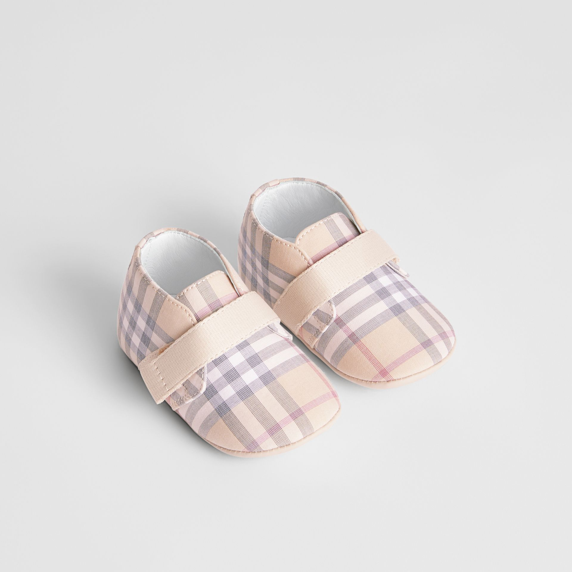 Check Cotton and Leather Shoes in Pale Stone - Children | Burberry Australia - gallery image 0