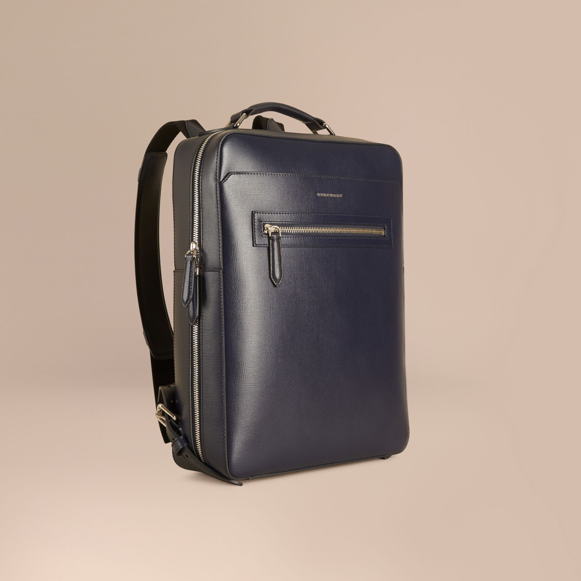 Dark navy London Leather Backpack Dark Navy - gallery image 1