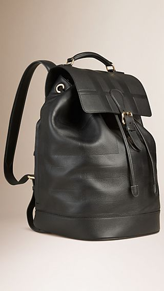 Check Embossed Leather Backpack