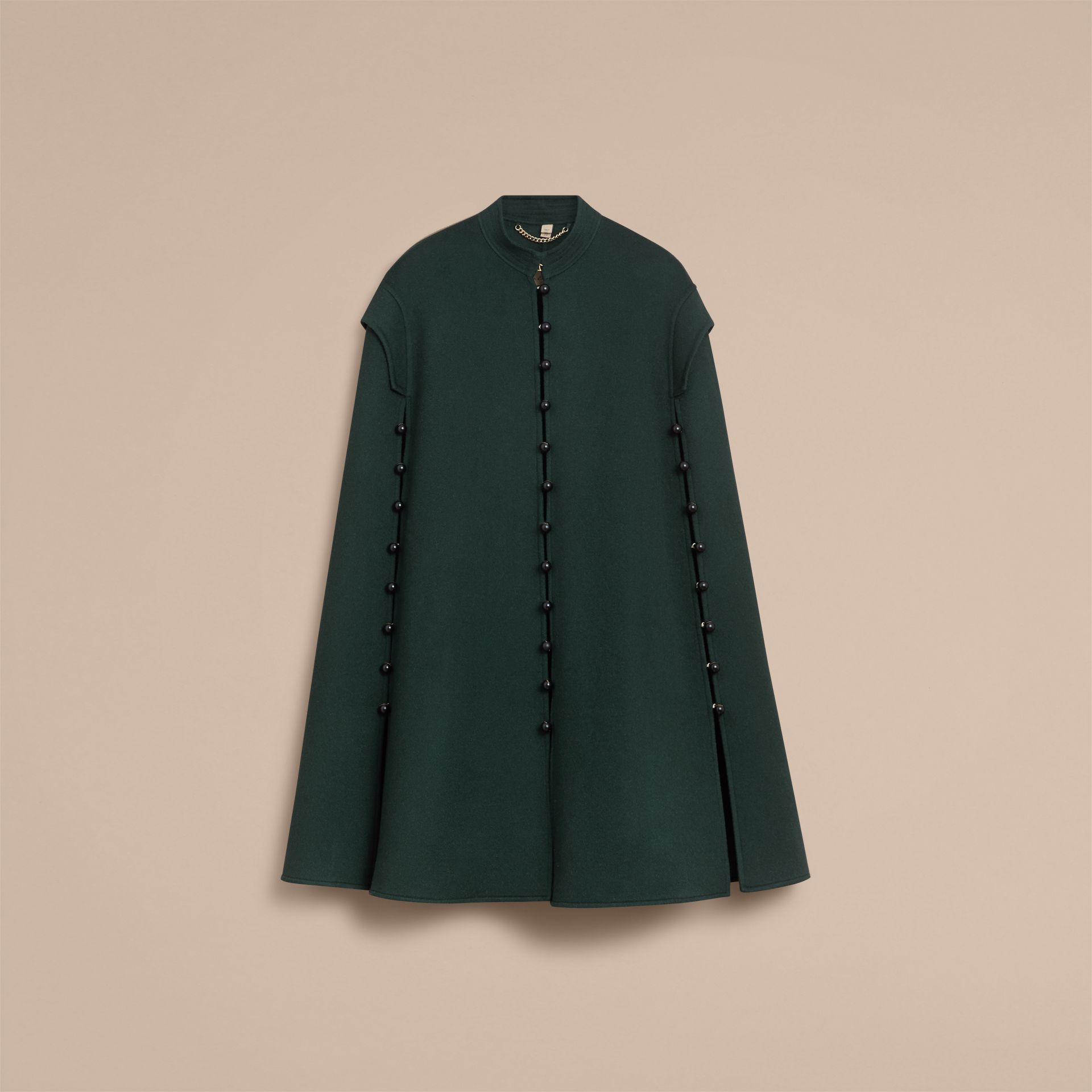 Domed Button Camel Hair Wool Cape in Dark Pewter Blue - Women | Burberry Australia - gallery image 4