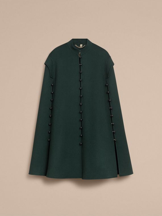 Domed Button Camel Hair Wool Cape in Dark Pewter Blue - Women | Burberry - cell image 3