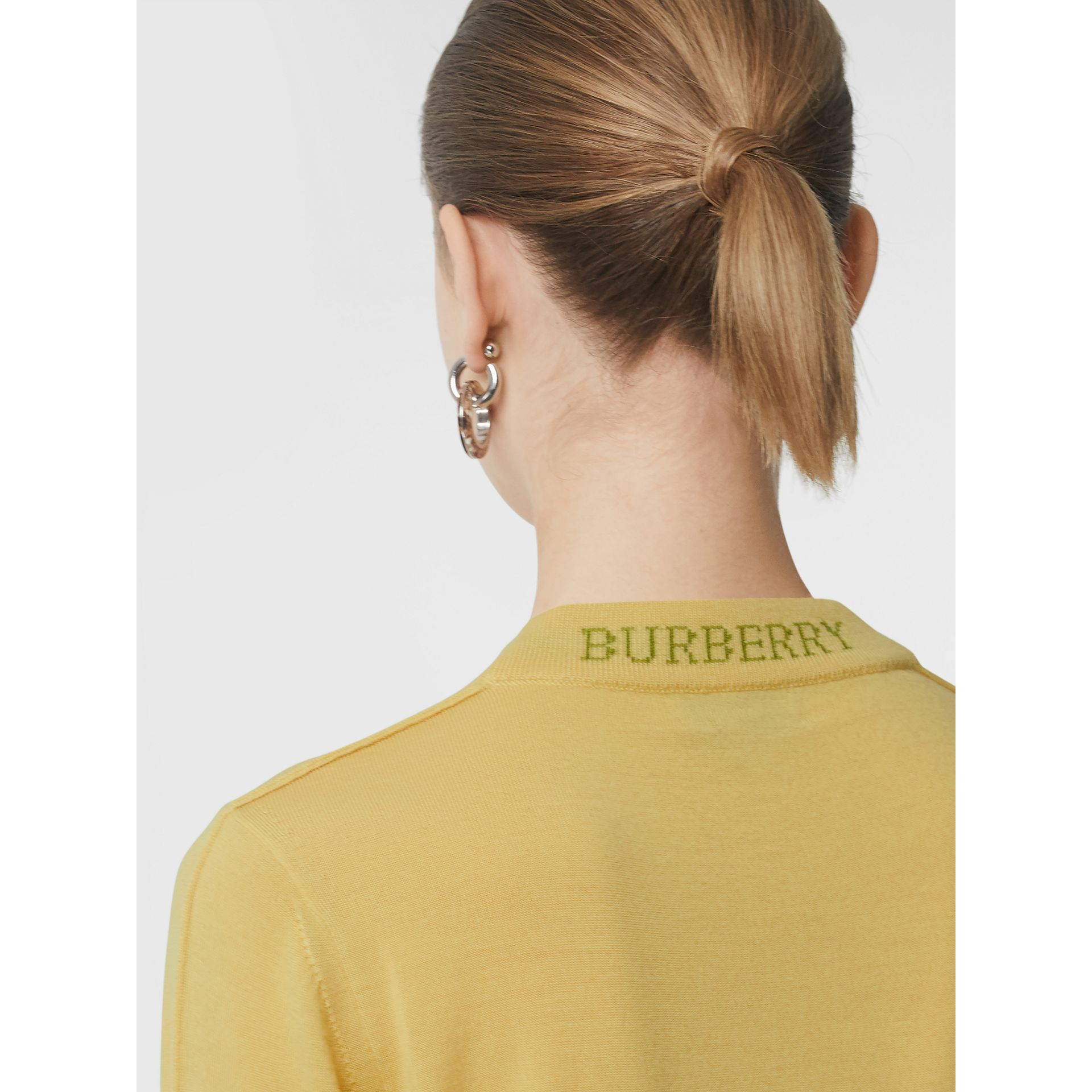 Logo Detail Merino Wool Sweater in Primrose Yellow - Women | Burberry - gallery image 1