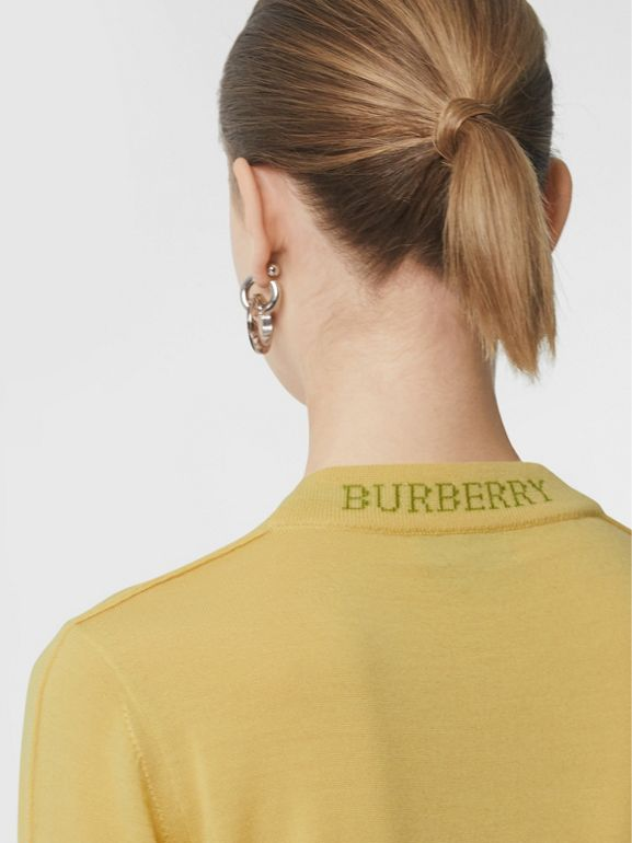 Logo Detail Merino Wool Sweater in Primrose Yellow - Women | Burberry - cell image 1