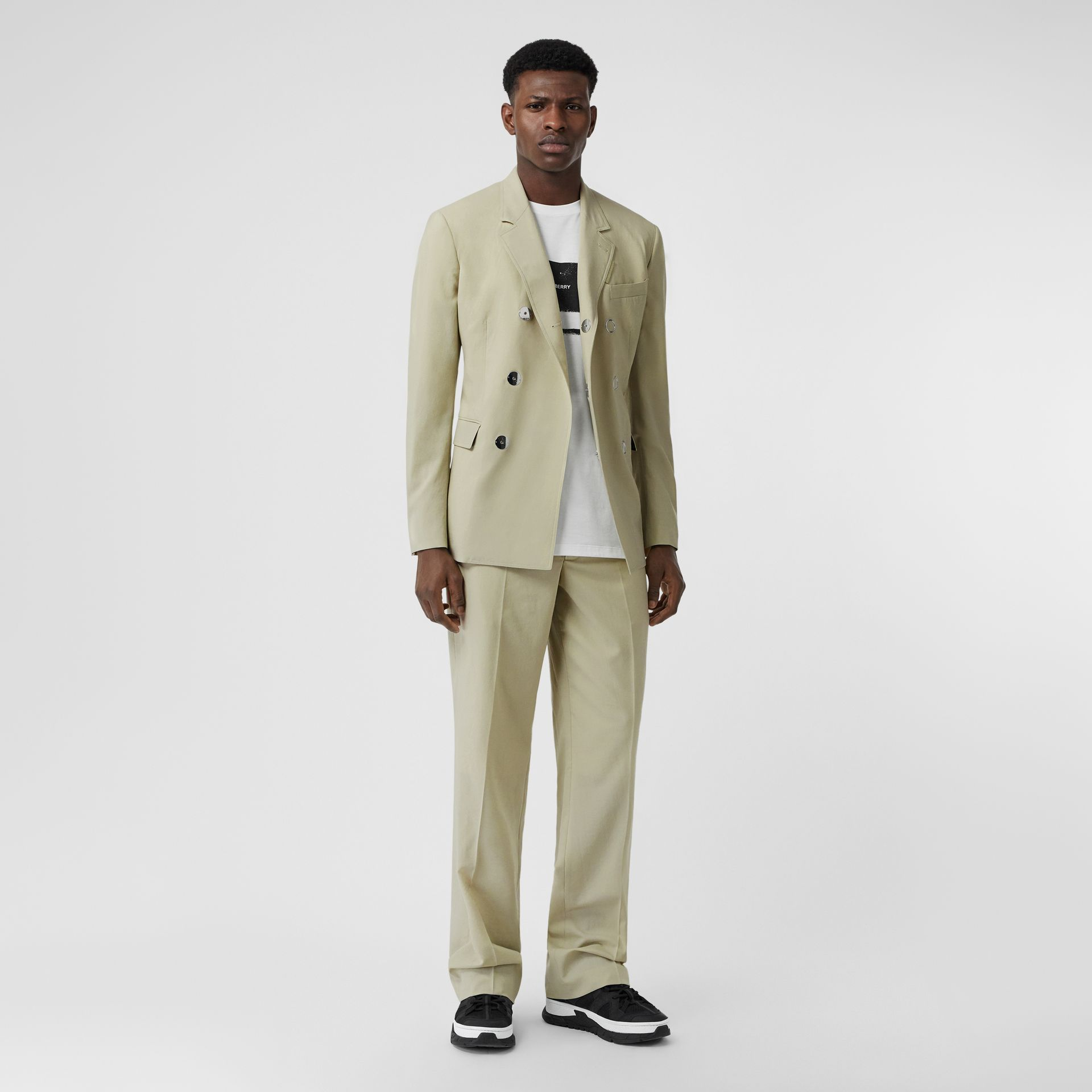 Slim Fit Press-stud Wool Tailored Jacket in Matcha | Burberry - gallery image 8