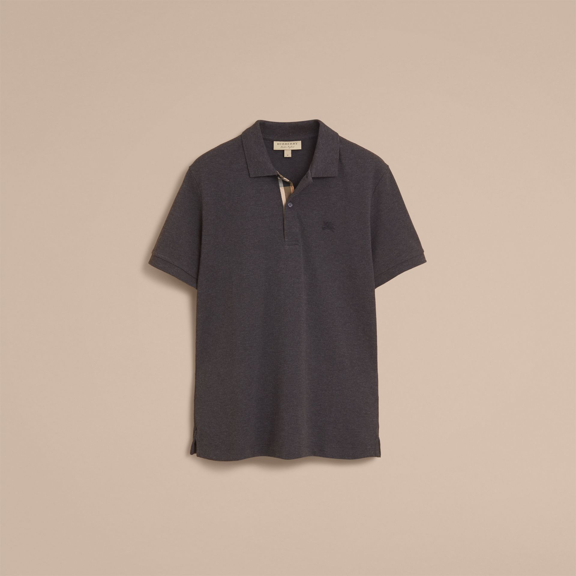 Check Placket Cotton Piqué Polo Shirt in Dark Charcoal Melange - gallery image 4