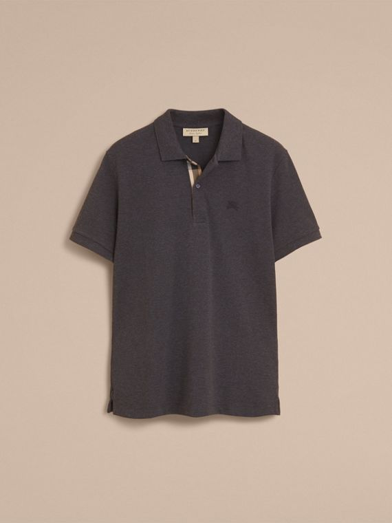 Check Placket Cotton Piqué Polo Shirt in Dark Charcoal Melange - cell image 3