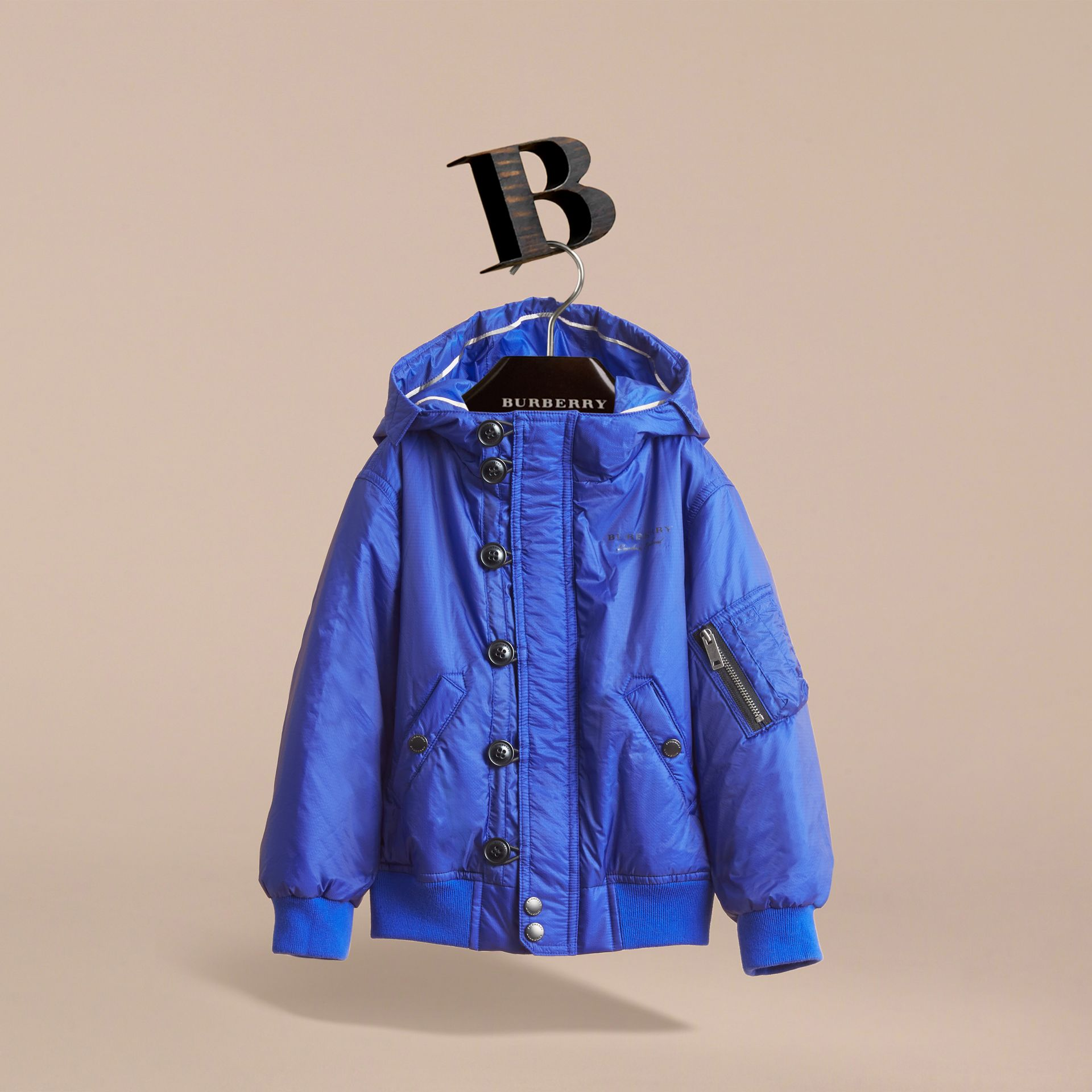 Hooded Lightweight Bomber Jacket in Brilliant Blue - Boy | Burberry - gallery image 3