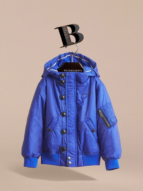 Hooded Lightweight Bomber Jacket in Brilliant Blue - Boy | Burberry - cell image 2