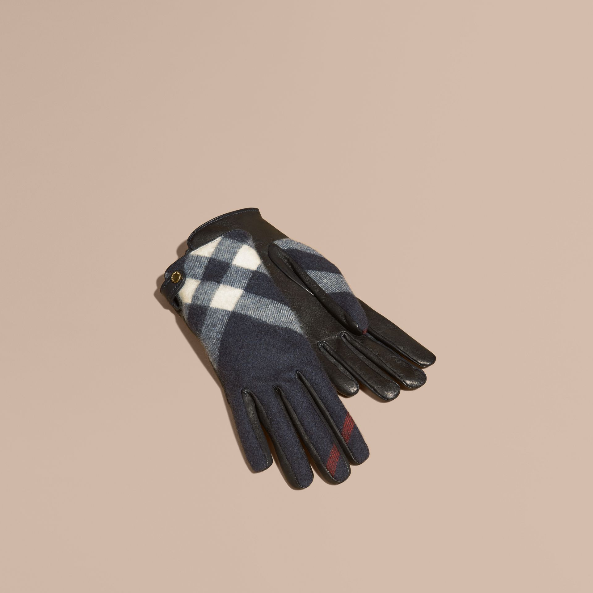 Navy Leather and Check Cashmere Gloves Navy - gallery image 1