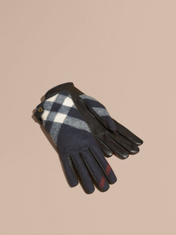 Leather and Check Cashmere Gloves Navy