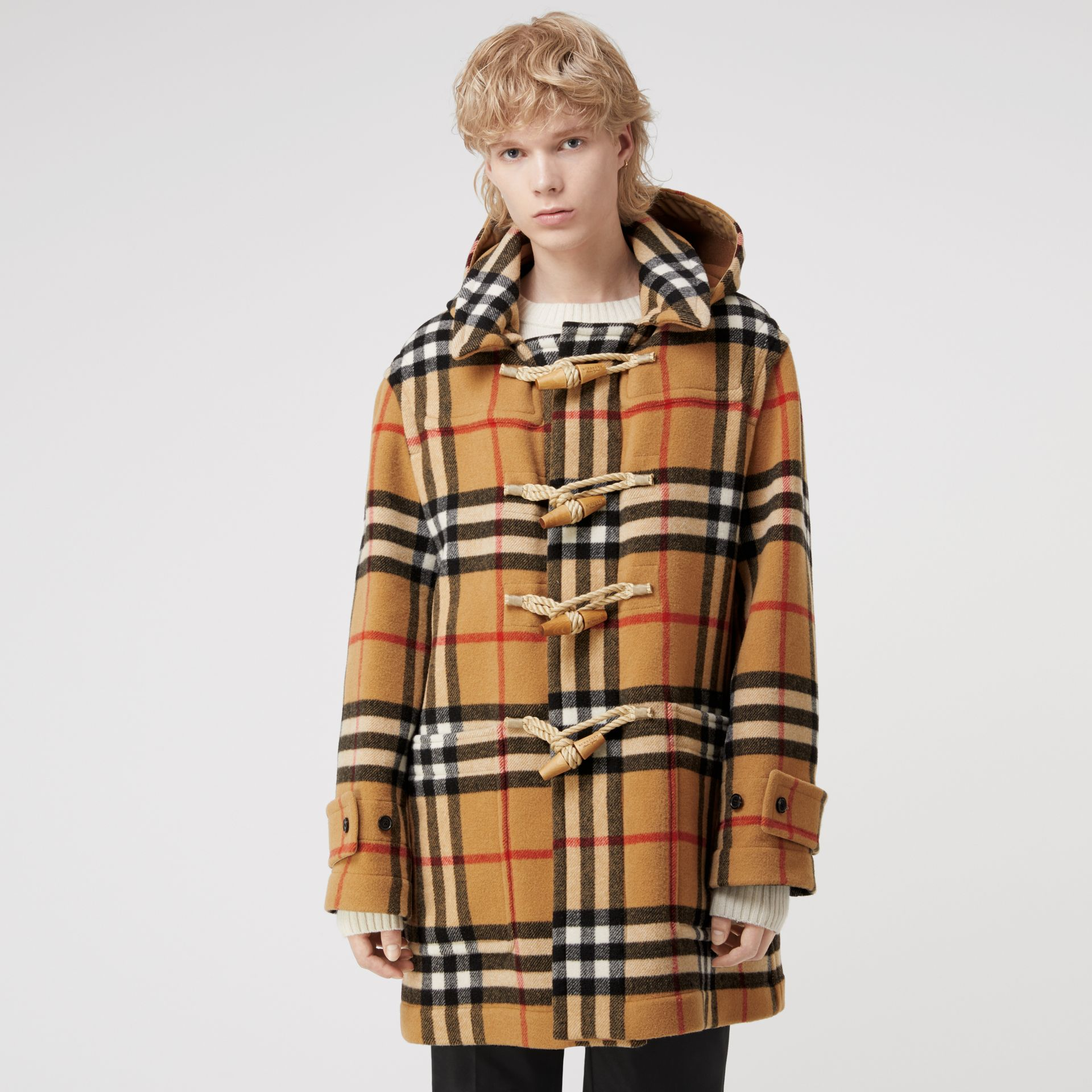 Gosha x Burberry Check Oversized Duffle Coat in Antique Yellow | Burberry Canada - gallery image 6