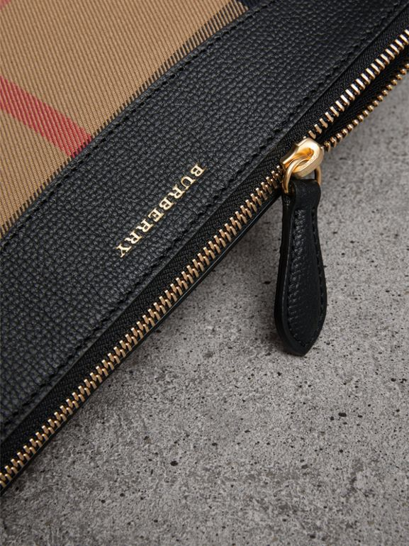 House Check and Leather Clutch Bag in Black - Women | Burberry Australia - cell image 1