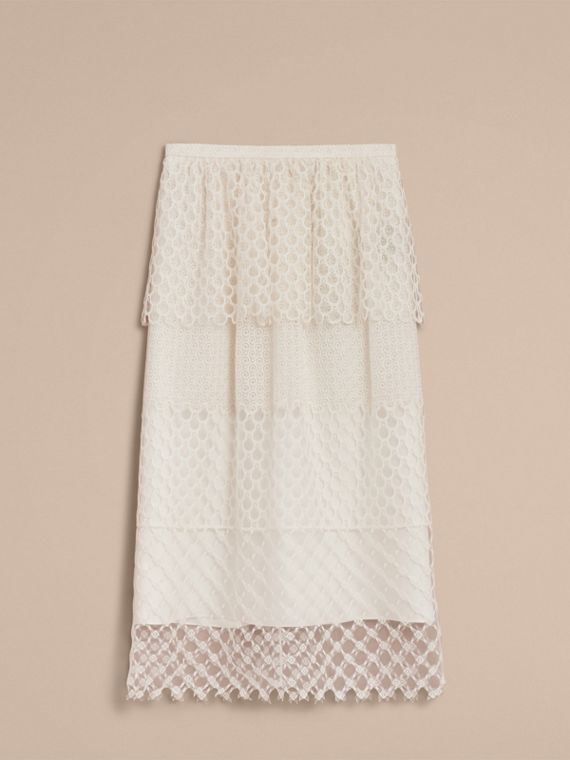 Macramé Lace Peplum Skirt in Natural White - Women | Burberry - cell image 3