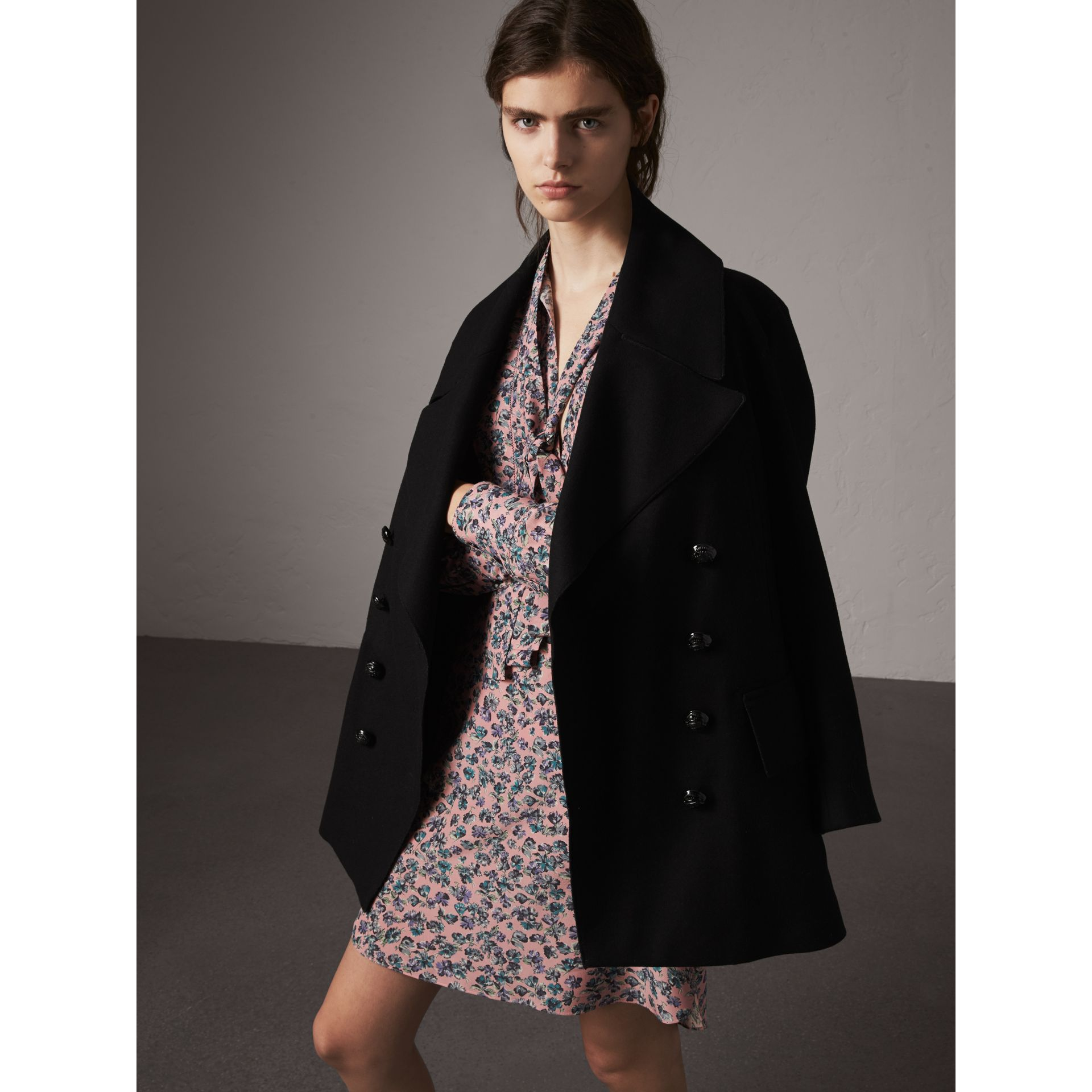 Wool Blend Pea Coat in Black - Women | Burberry - gallery image 6