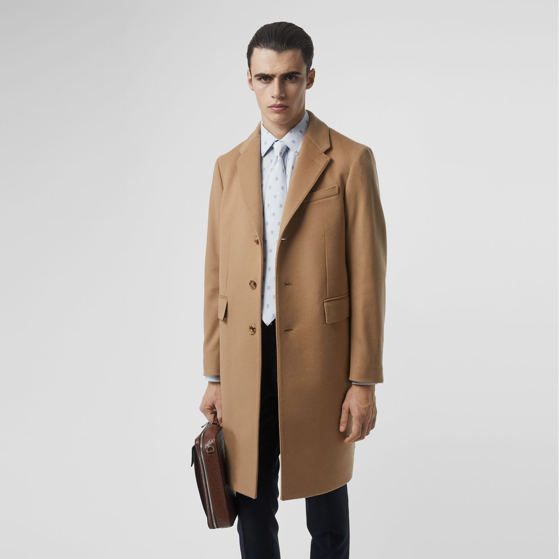 Wool Cashmere Tailored Coat in Camel - Men | Burberry Singapore - gallery image 4