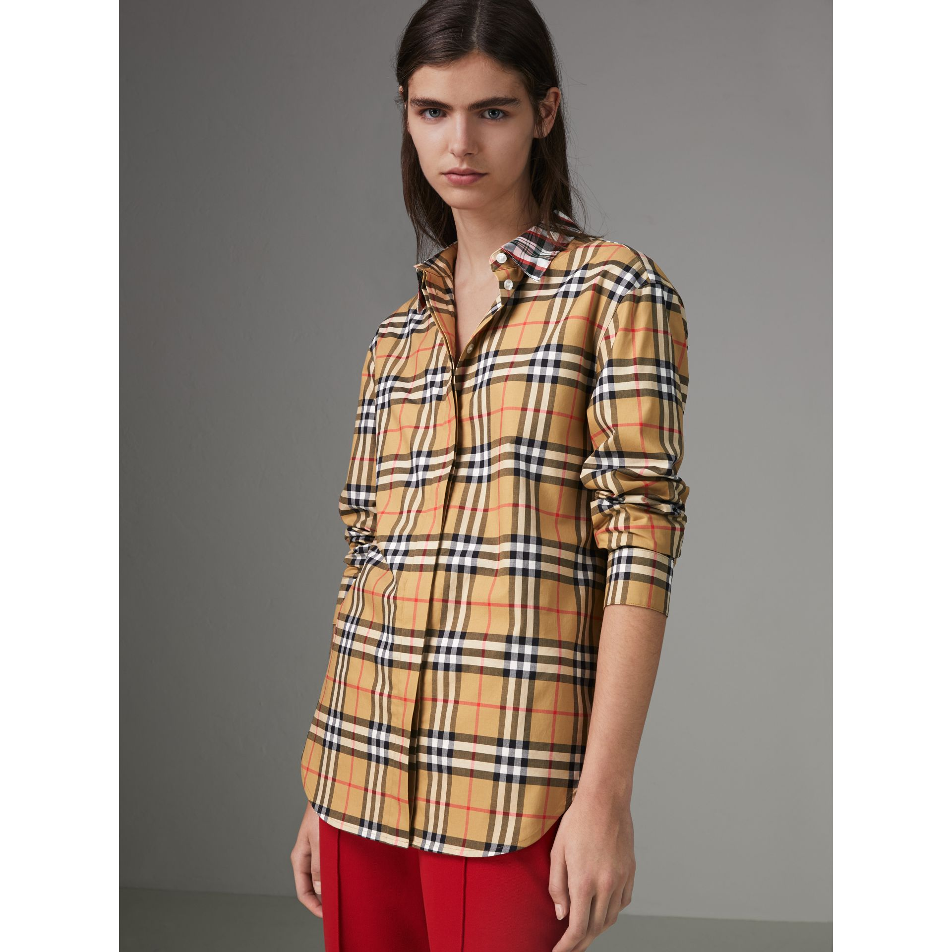 Contrast Check Cotton Shirt in Antique Yellow - Women | Burberry - gallery image 4
