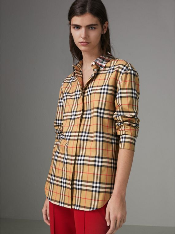 Contrast Check Cotton Shirt in Antique Yellow