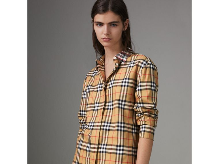 Contrast Check Cotton Shirt in Antique Yellow - Women | Burberry - cell image 4