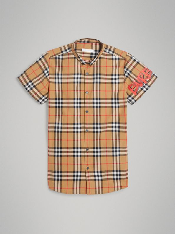Short-sleeve Graffiti Print Check Cotton Shirt in Antique Yellow
