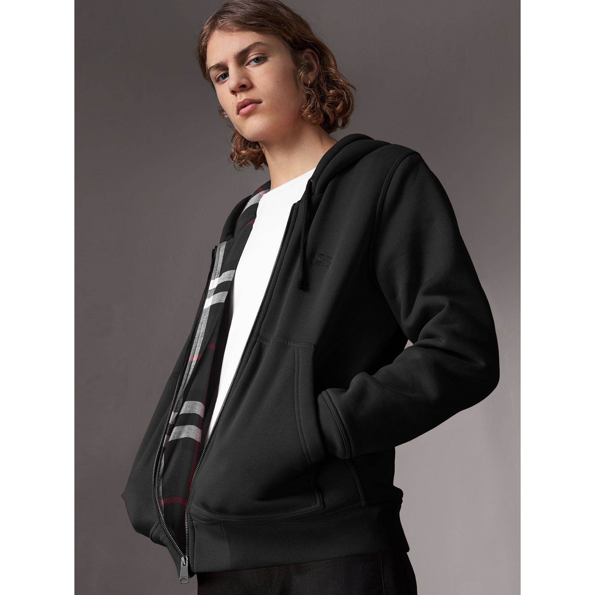 Check Detail Jersey Hooded Top in Black - Men | Burberry Canada - gallery image 0