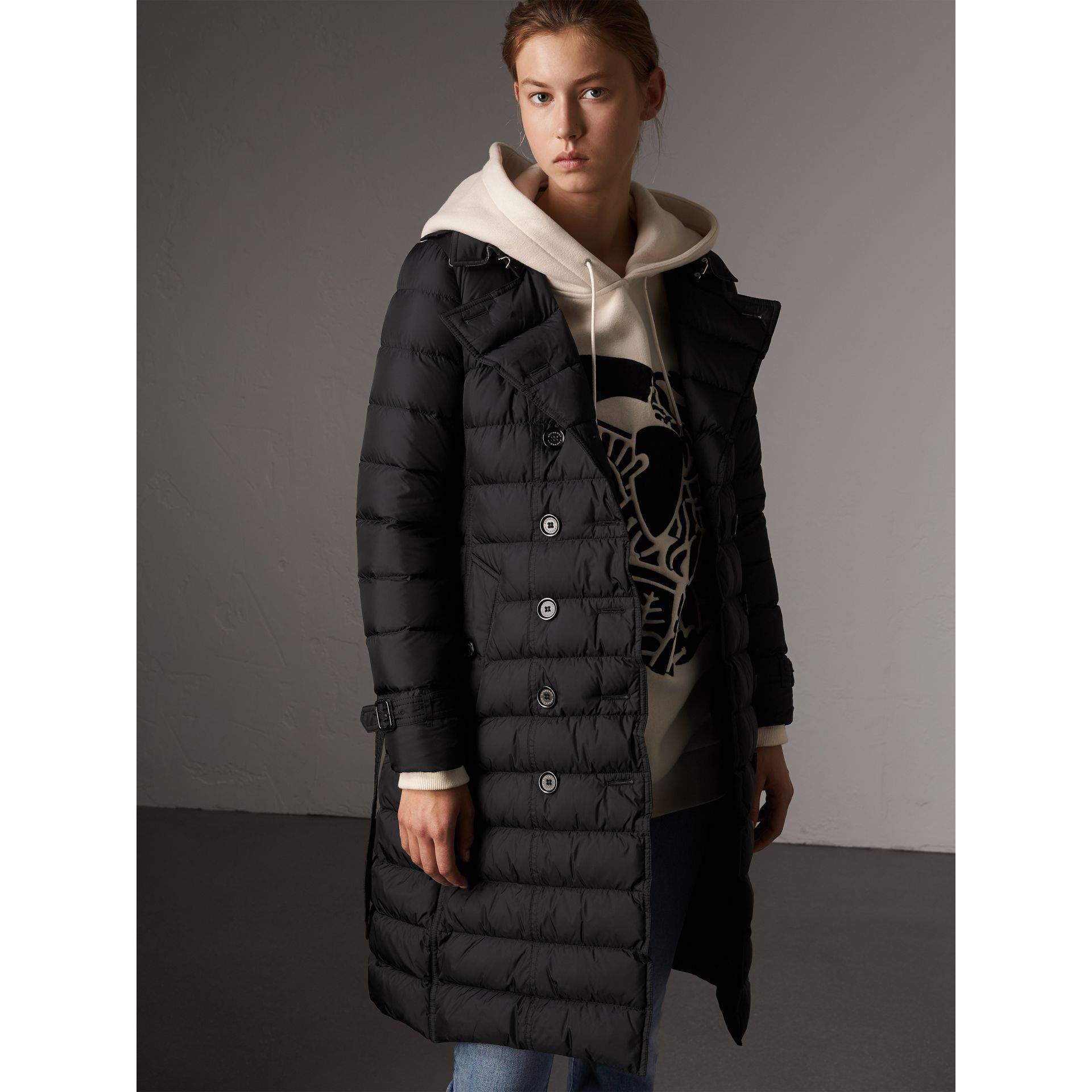 Detachable Hood Fur Trim Down-filled Puffer Coat in Black - Women | Burberry - gallery image 1