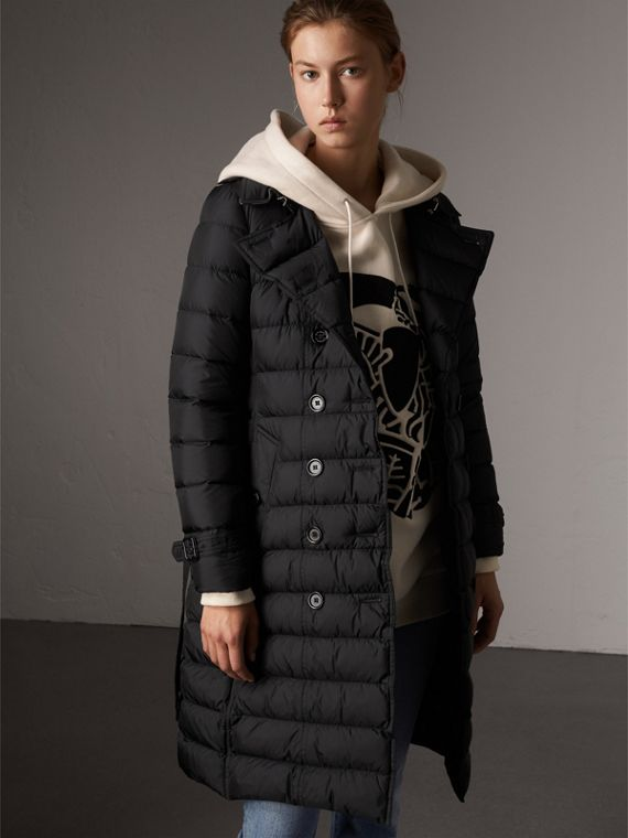 Detachable Hood Fur Trim Down-filled Puffer Coat in Black