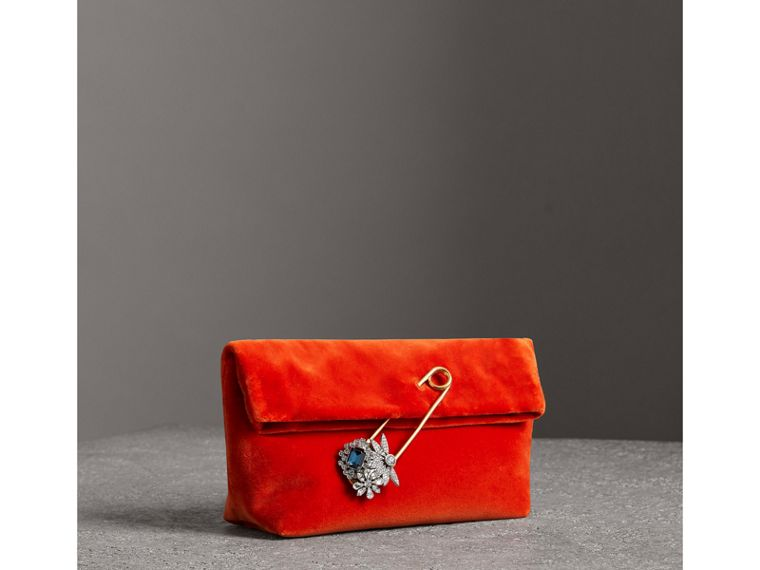 The Small Pin Clutch in Velvet in Orange Red - Women | Burberry - cell image 4