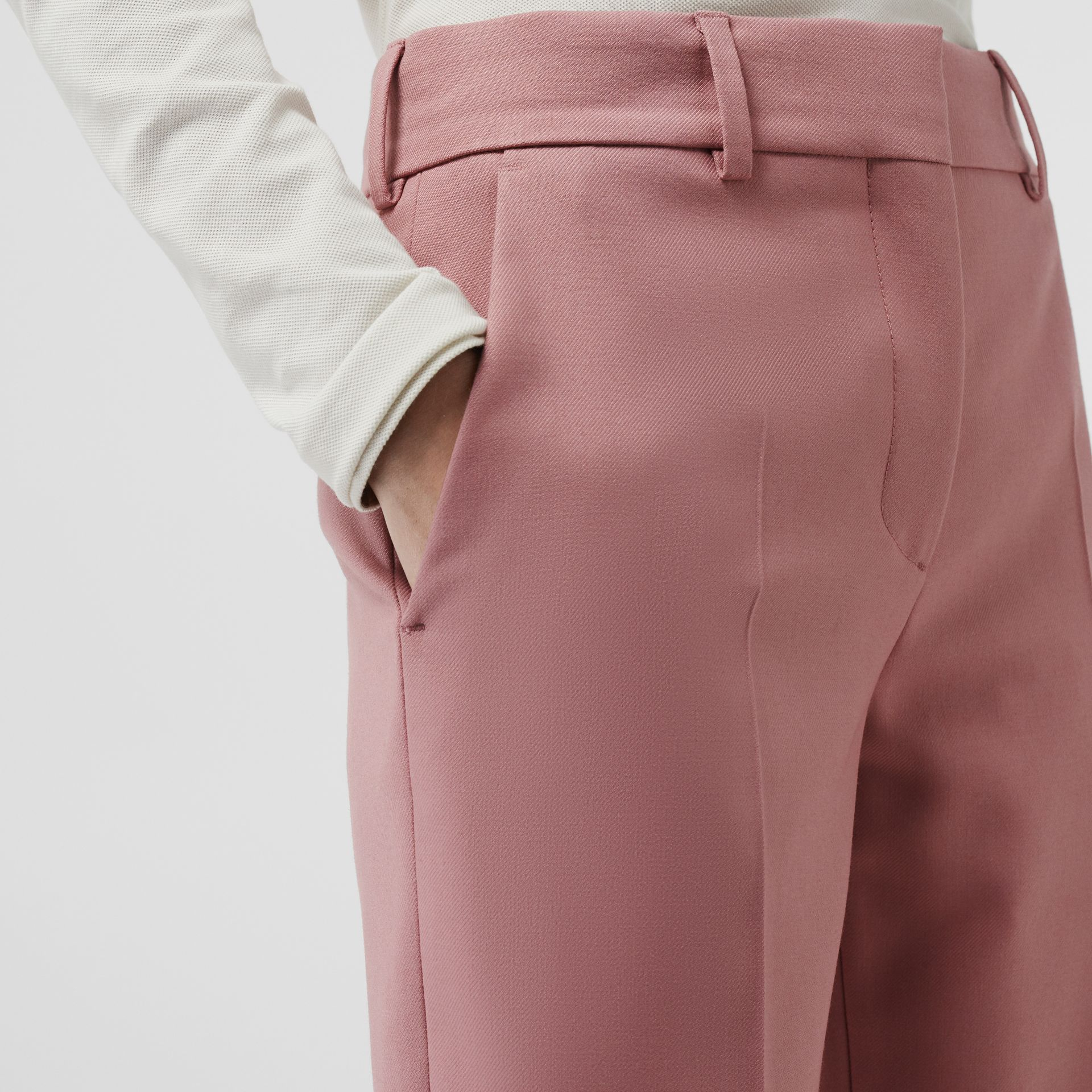Straight Fit Wool Blend Tailored Trousers in Chalk Pink - Women | Burberry United Kingdom - gallery image 1