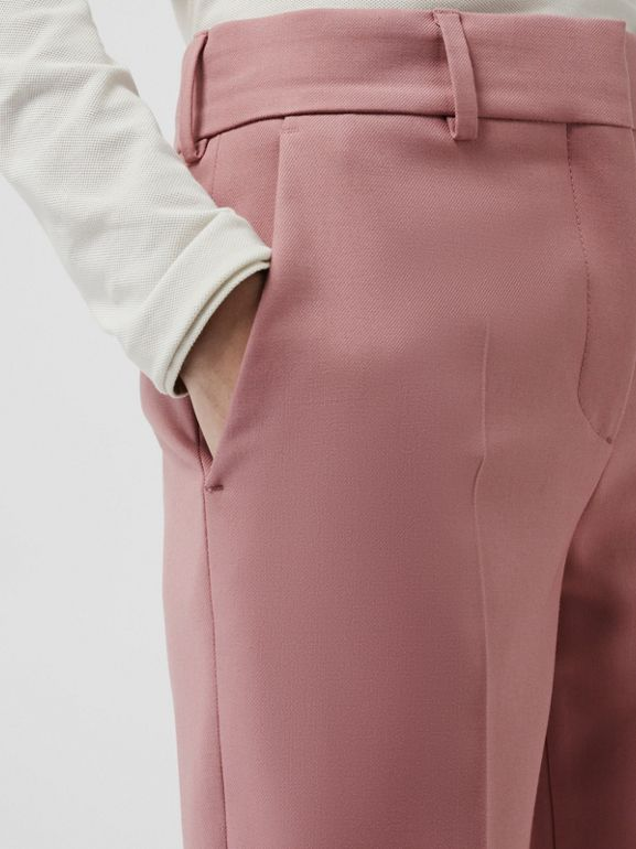 Straight Fit Wool Blend Tailored Trousers in Chalk Pink - Women | Burberry Canada - cell image 1