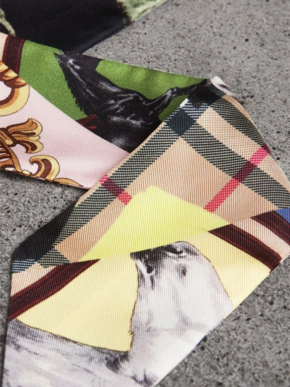 Archive Scarf Print Silk Skinny Scarf in Multicolour - Women | Burberry - cell image 1