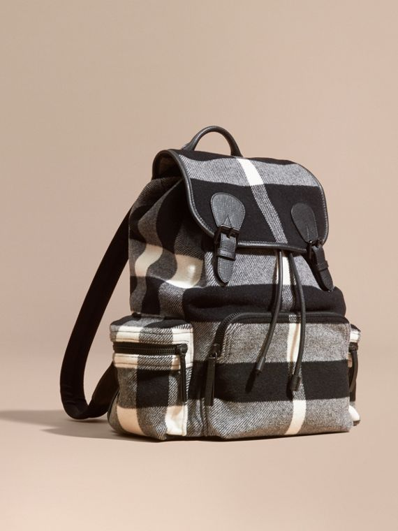 The Large Rucksack in Check Wool Blend and Leather Black