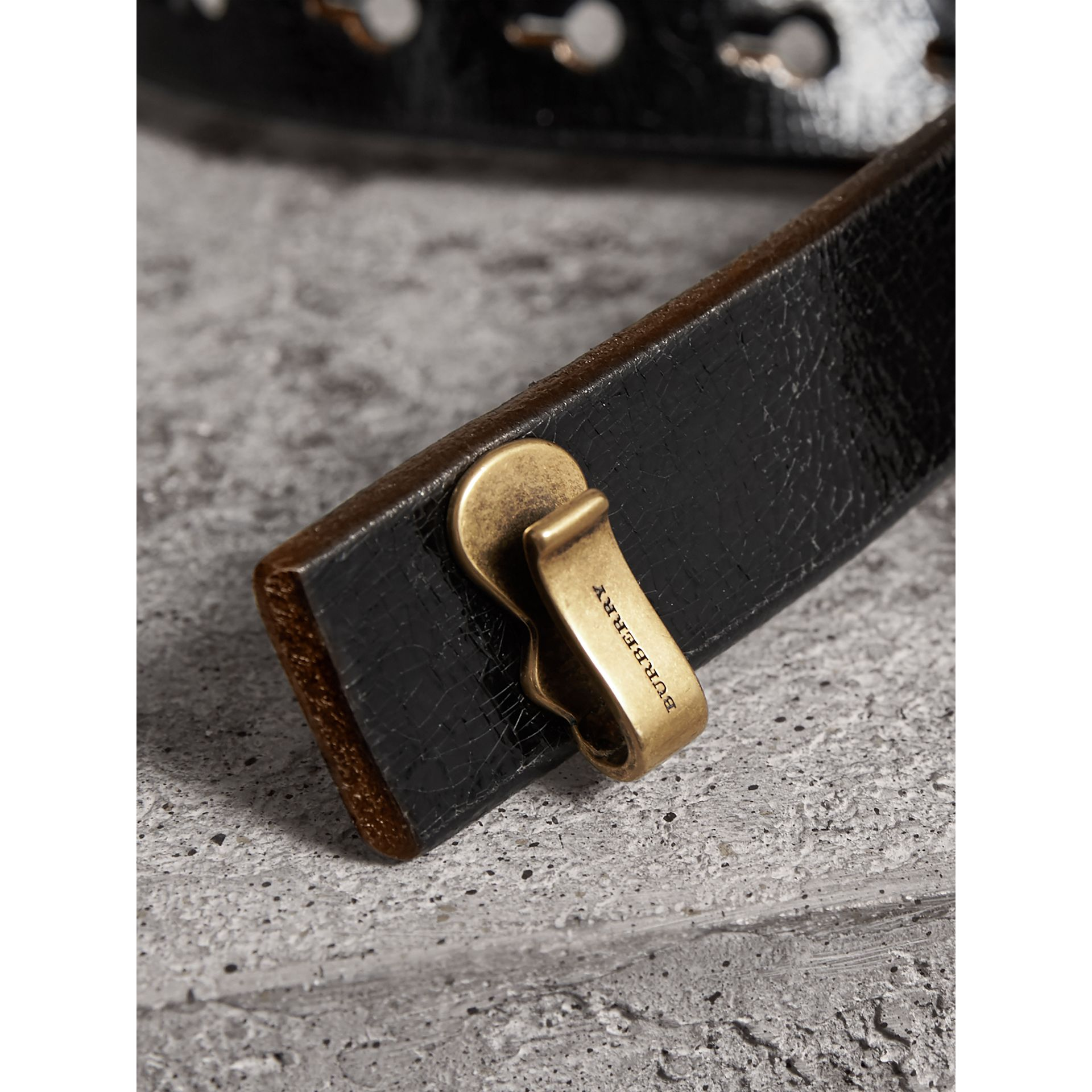 Glossy Leather Belt in Black - Women | Burberry - gallery image 1