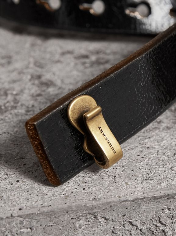 Glossy Leather Belt in Black - Women | Burberry - cell image 1