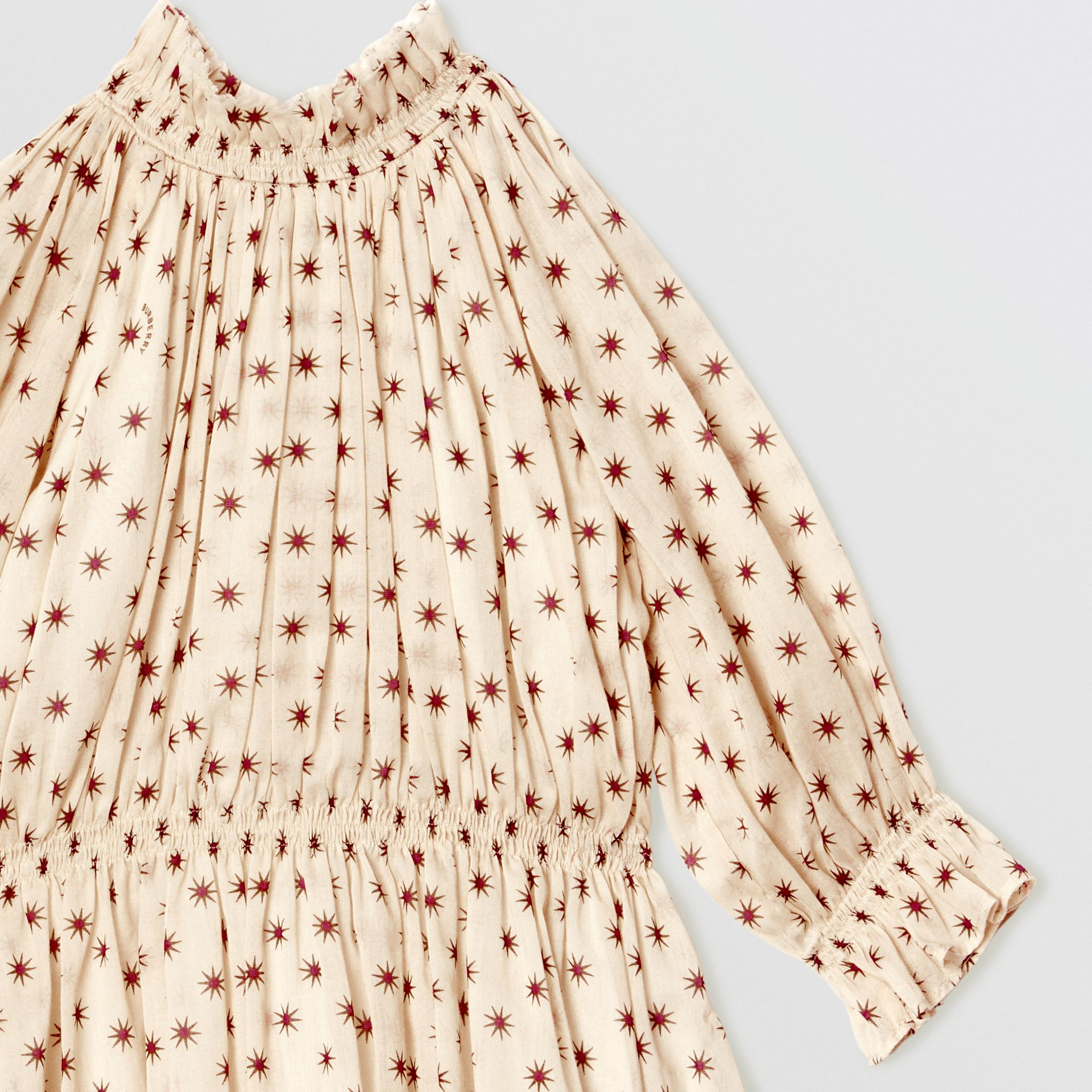 Star Print Gathered Cotton Dress in Military Red - Children | Burberry United Kingdom - gallery image 4