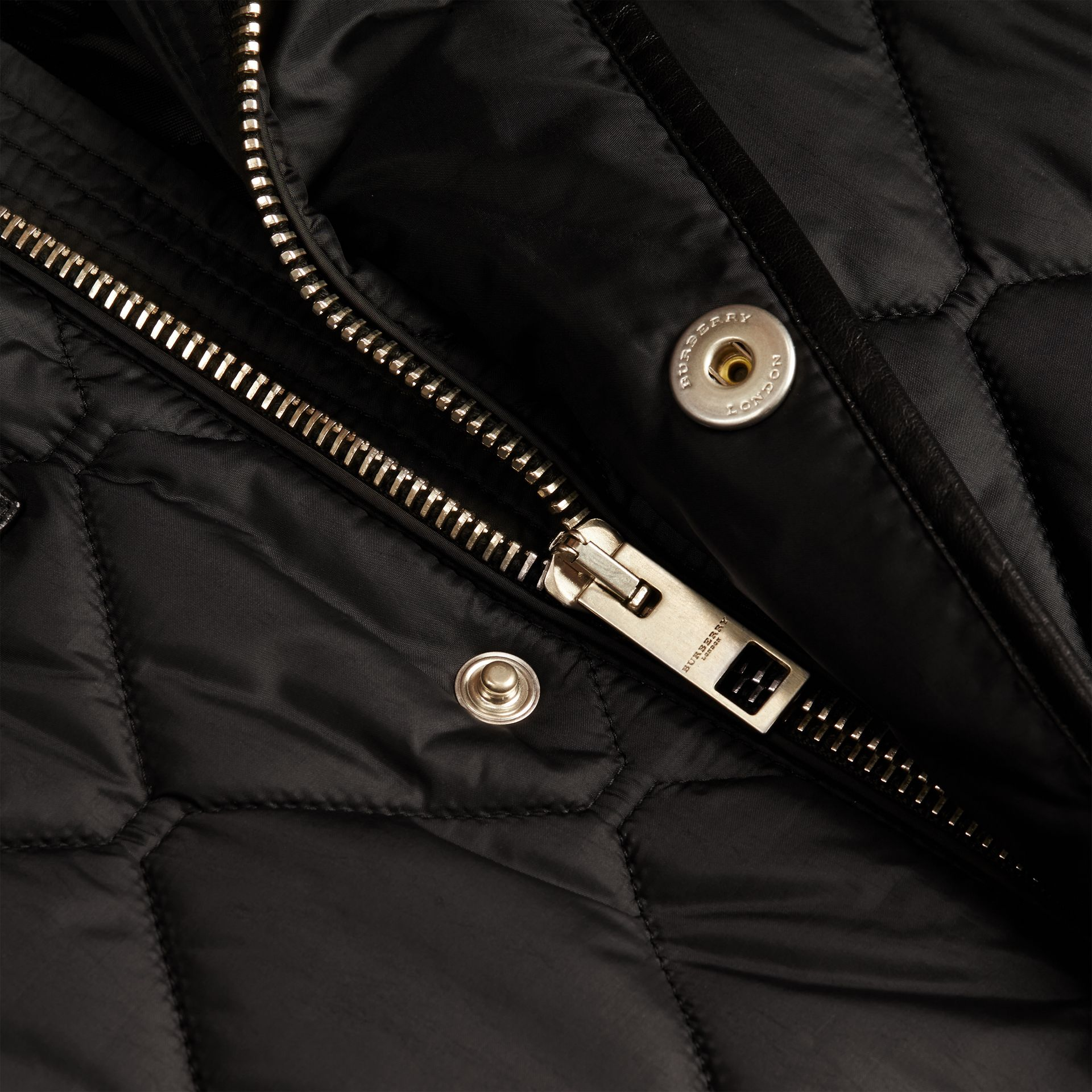 Black Lambskin Detail Field Jacket - gallery image 2