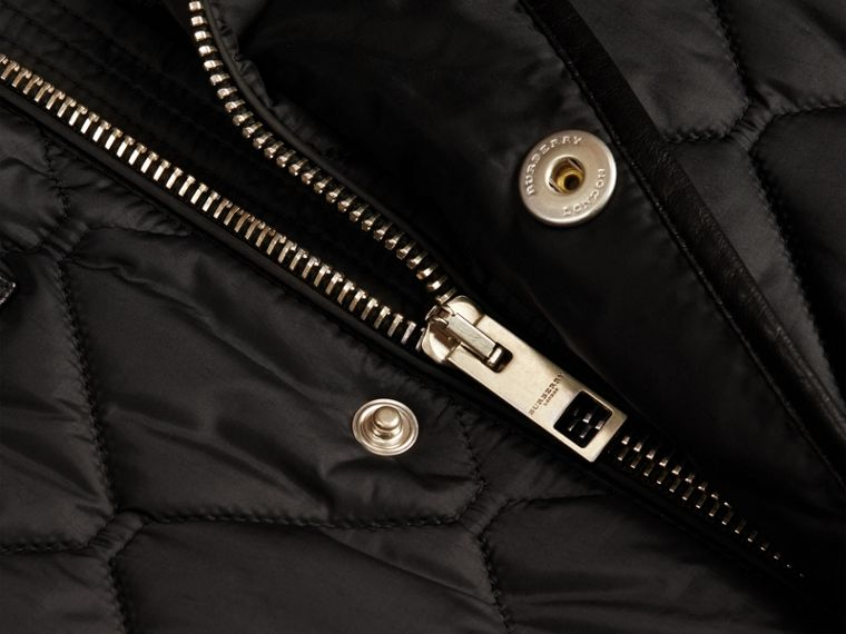 Black Lambskin Detail Field Jacket - cell image 1