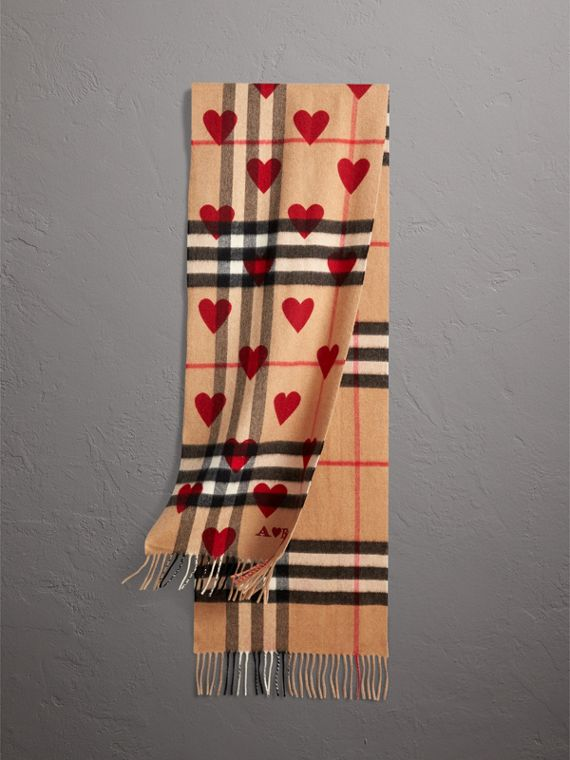 The Classic Cashmere Scarf in Check and Hearts in Parade Red