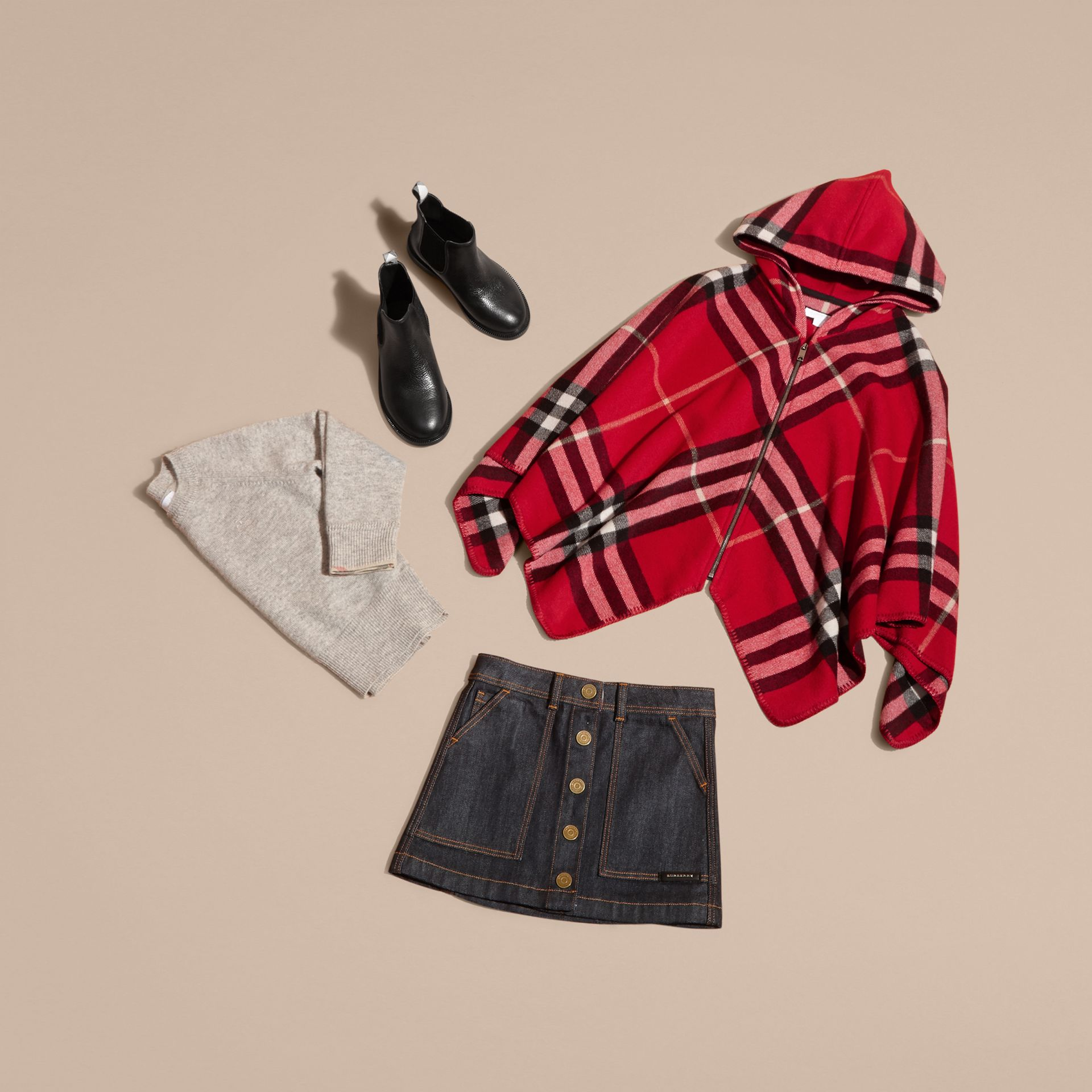 Parade red Check Wool Cashmere Hooded Poncho - gallery image 5