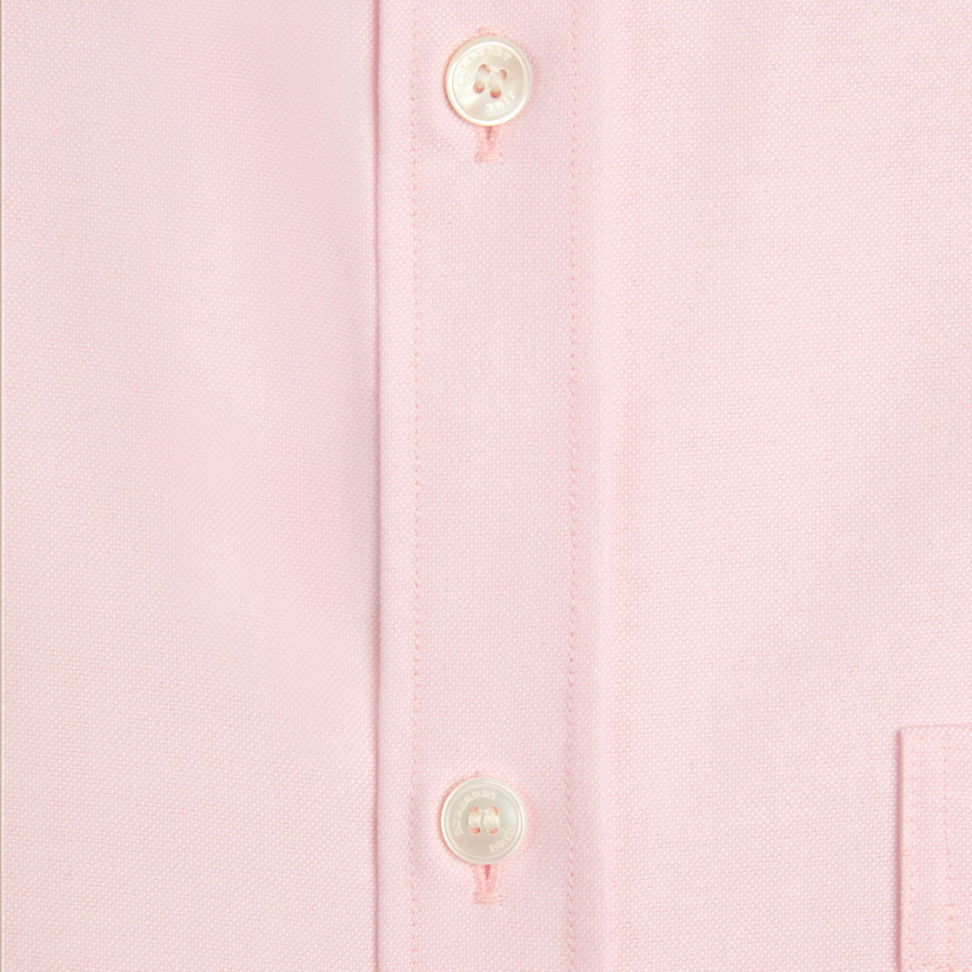 Pale pink Check Detail Cotton Oxford Shirt Pale Pink - gallery image 2