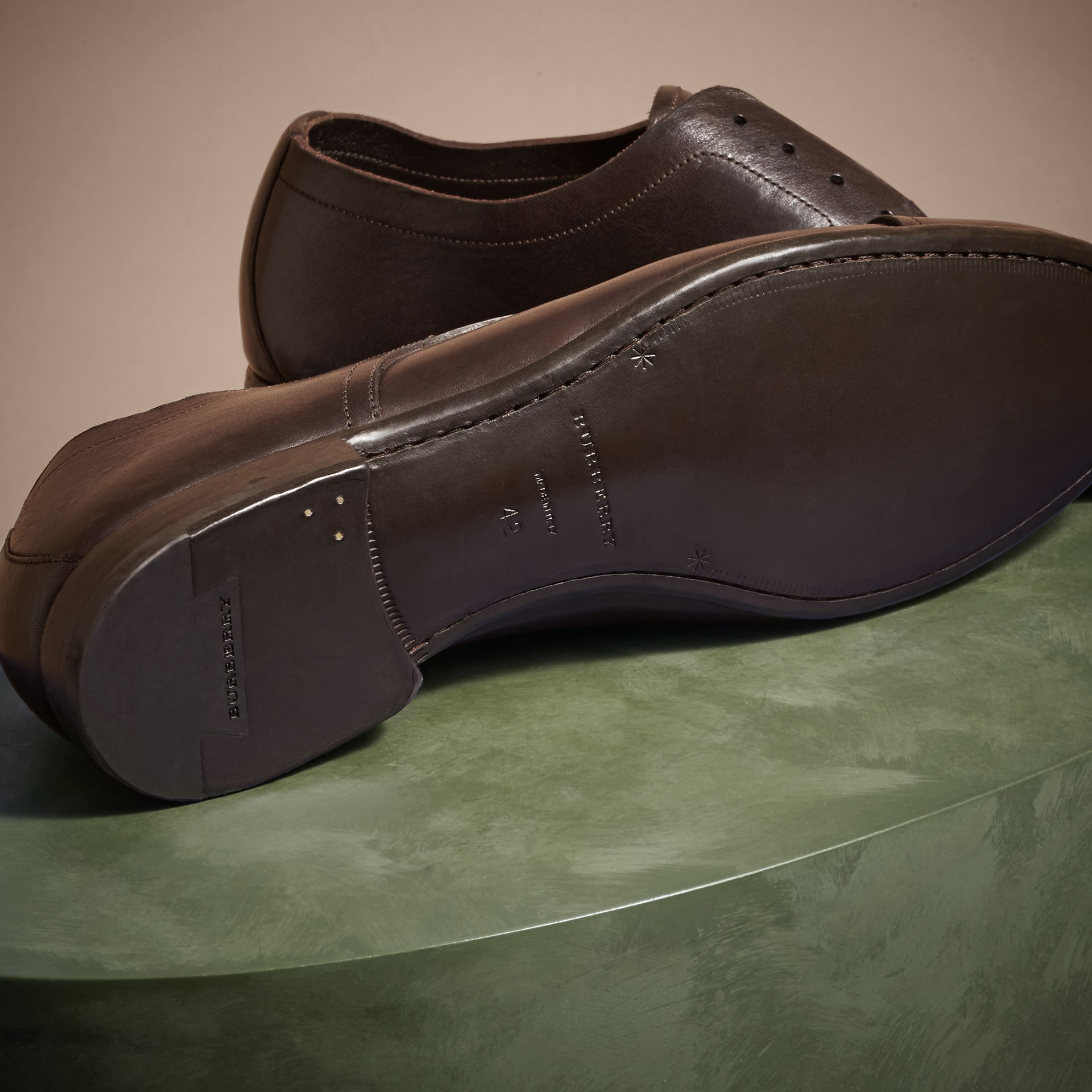Ebony Washed Leather Derby Shoes - gallery image 5