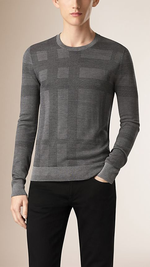 Grey stone Check Crew Neck Silk Sweater - Image 1