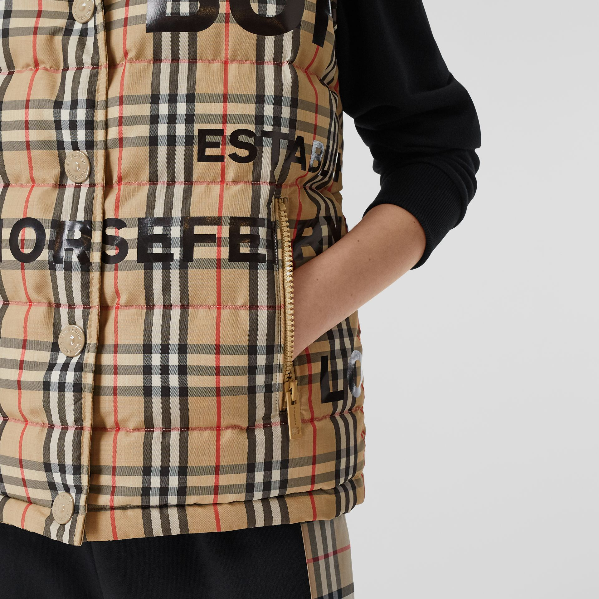 Horseferry Print Vintage Check Puffer Gilet in Archive Beige - Women | Burberry Singapore - gallery image 4