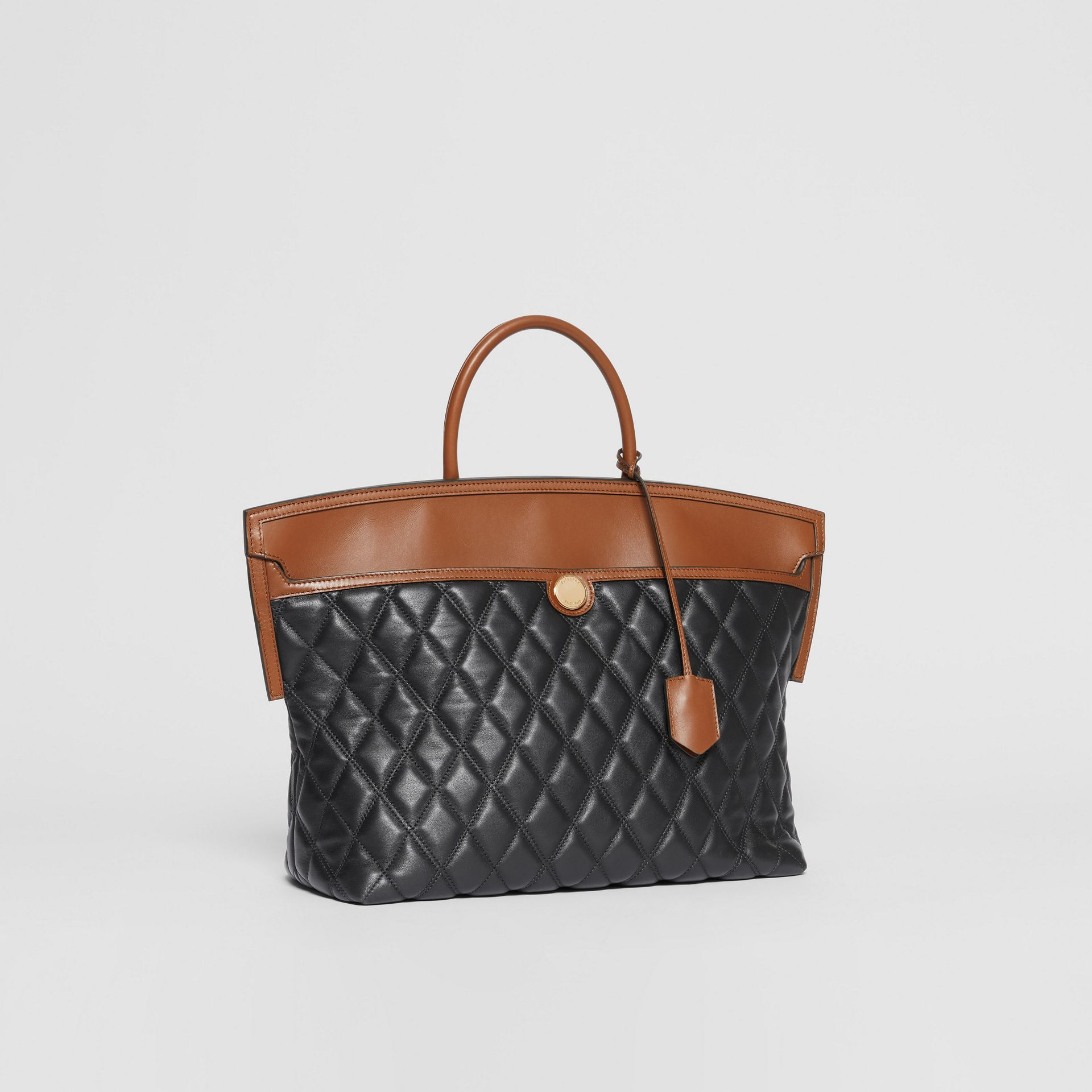 Quilted Lambskin Society Top Handle Bag in Black/brown - Women | Burberry United Kingdom - gallery image 5