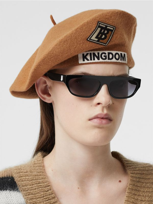 Logo Graphic Merino Wool Beret in Burnt Almond | Burberry Canada - cell image 2