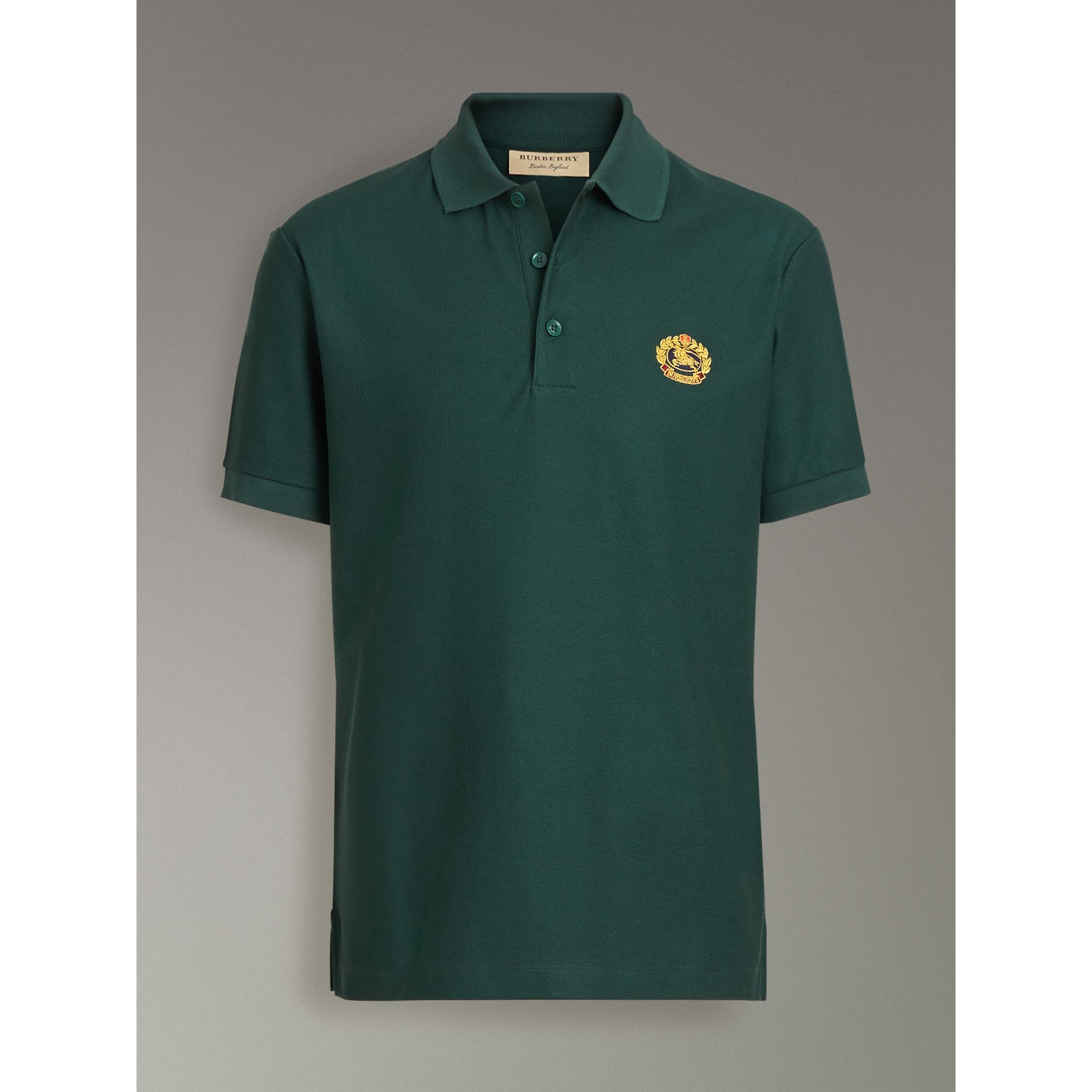 Archive Logo Cotton Piqué Polo Shirt in Dark Forest Green - Men | Burberry Singapore - gallery image 3
