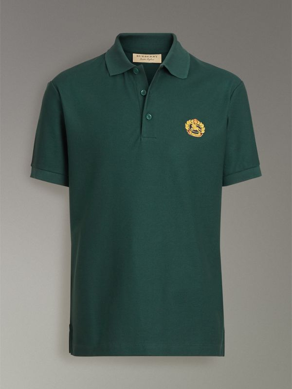 Archive Logo Cotton Piqué Polo Shirt in Dark Forest Green - Men | Burberry Singapore - cell image 3