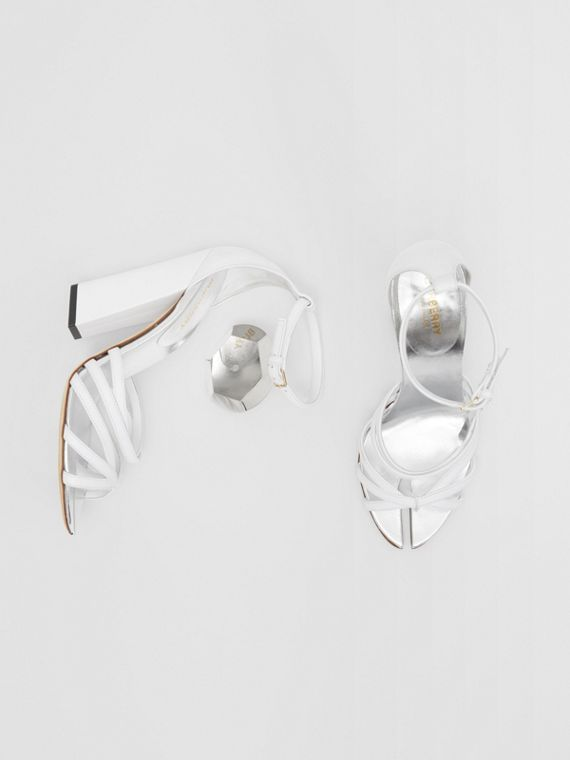 Split-toe Detail Leather Sandals in Optic White