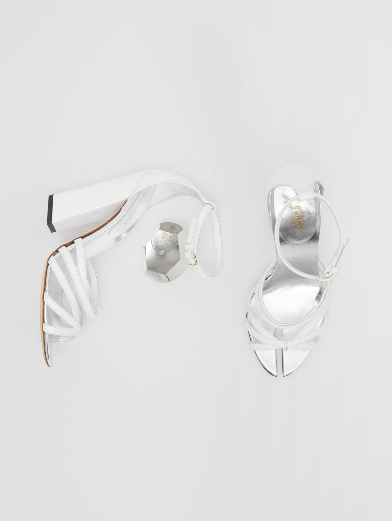 Split-toe Detail Leather Sandals (Optic White)