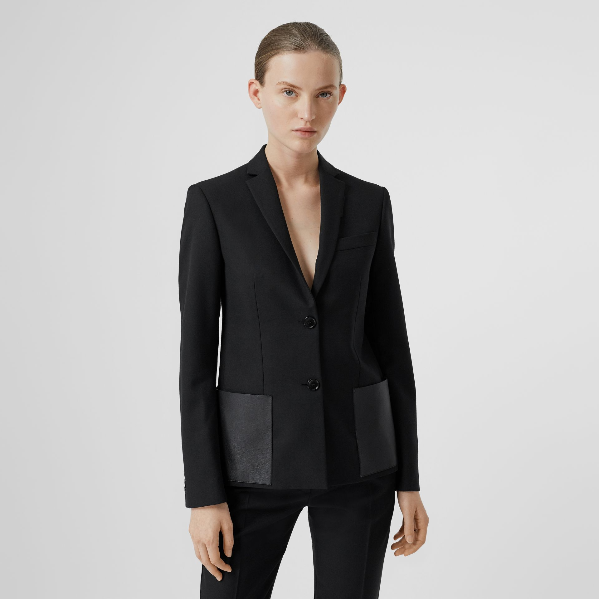 Leather Detail Wool Tailored Jacket in Black - Women | Burberry United Kingdom - gallery image 0