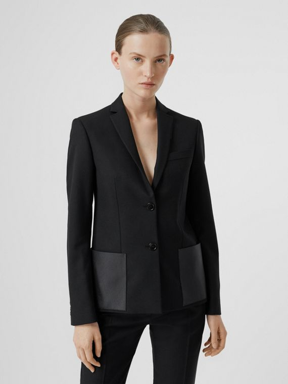 Leather Detail Wool Tailored Jacket in Black